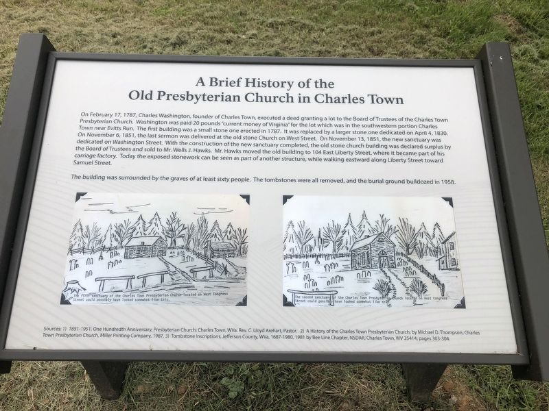 A Brief History of the Old Presbyterian Church in Charles Town Marker image. Click for full size.