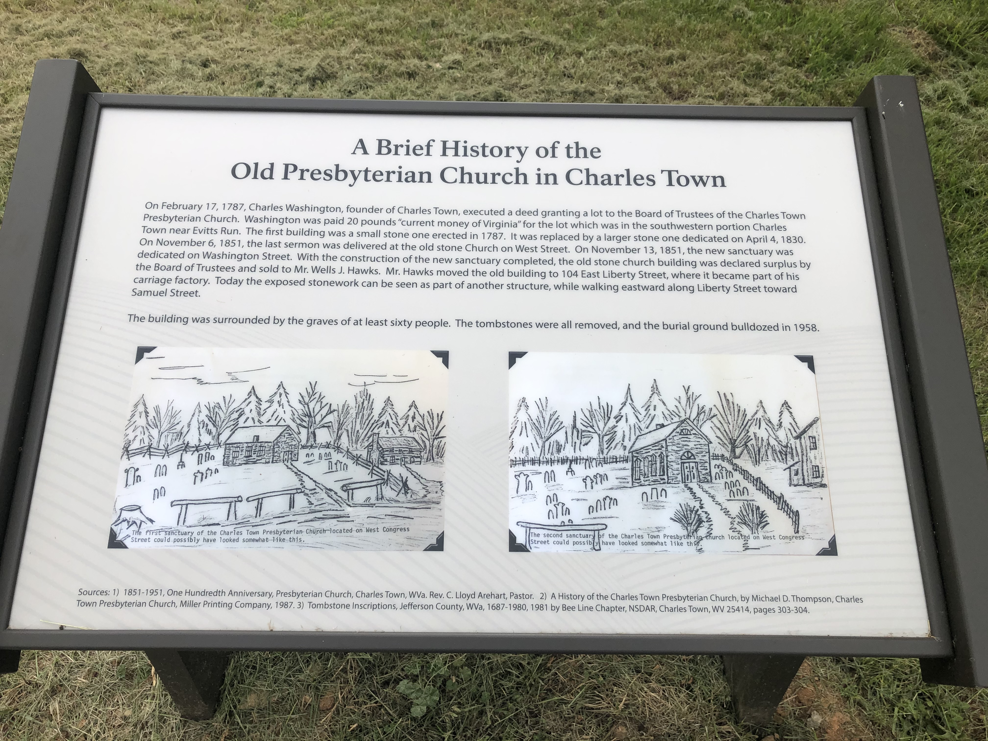 A Brief History of the Old Presbyterian Church in Charles Town Marker