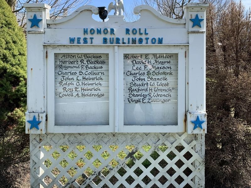 West Burlington NY Honor Roll Marker image. Click for full size.