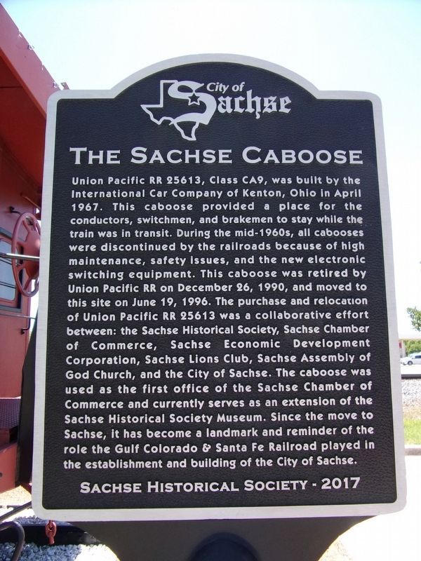 The Sachse Caboose Marker image. Click for full size.