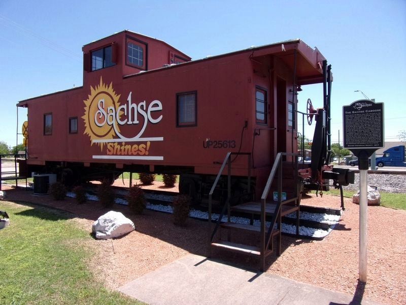 The Sachse Caboose and Marker image. Click for full size.