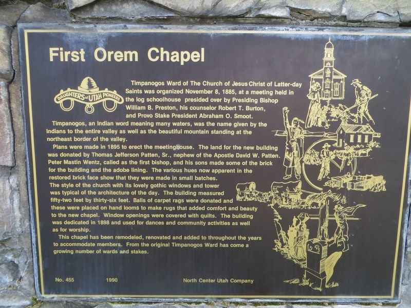 First Orem Chapel Marker image. Click for full size.