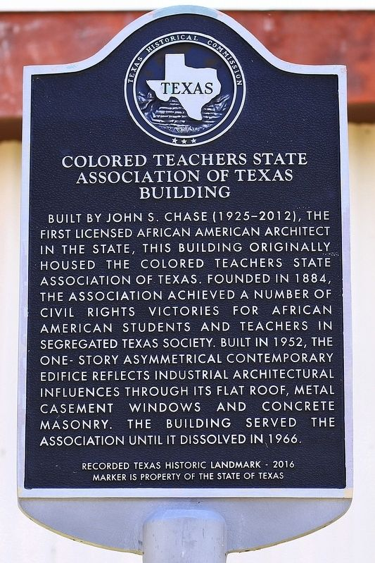 Colored Teachers State Association of Texas Building Marker image. Click for full size.