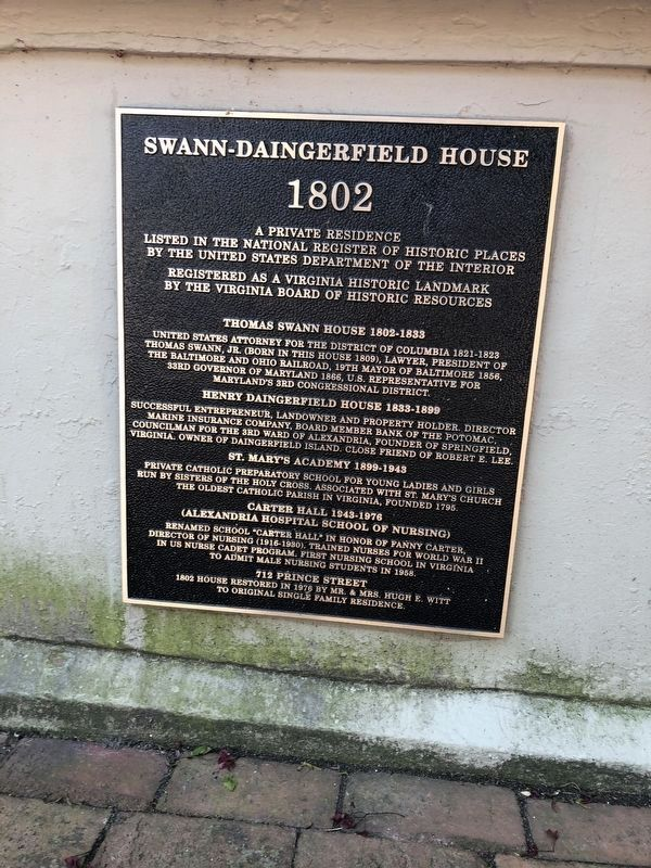 Swann-Daingerfield House Marker image. Click for full size.