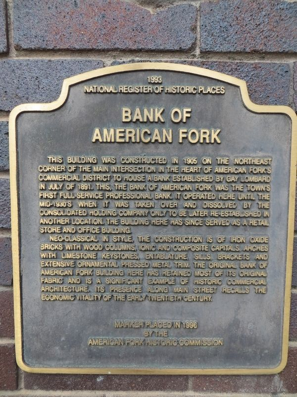 Bank of American Fork Marker image. Click for full size.