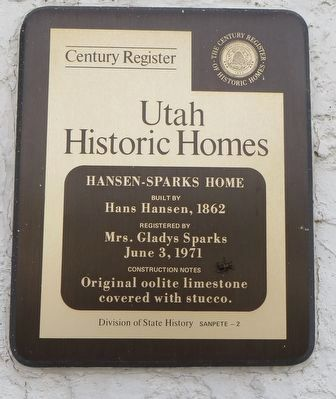 Hansen-Sparks Home Marker image. Click for full size.