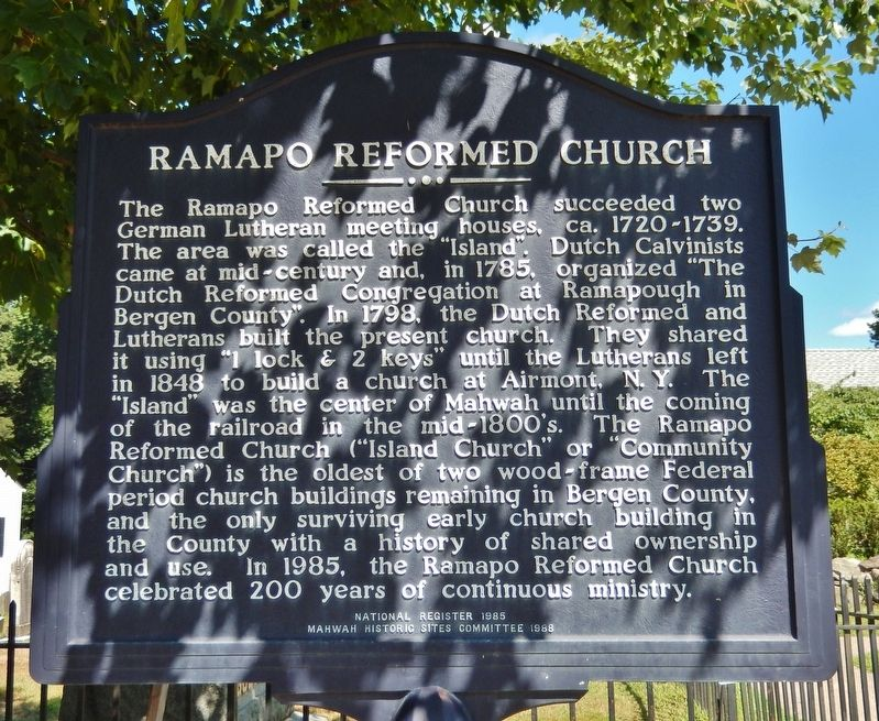 Ramapo Reformed Church Marker image. Click for full size.