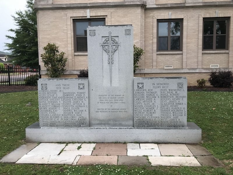 Marion County, Tennessee World War II Memorial image. Click for full size.