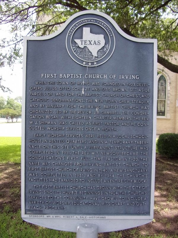 First Baptist Church of Irving Marker image. Click for full size.