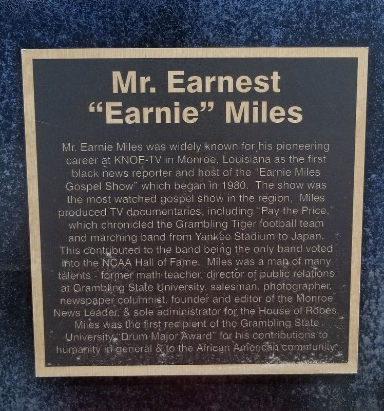 "Mr. Earnest ""Earnie"" Miles Marker image. Click for full size."