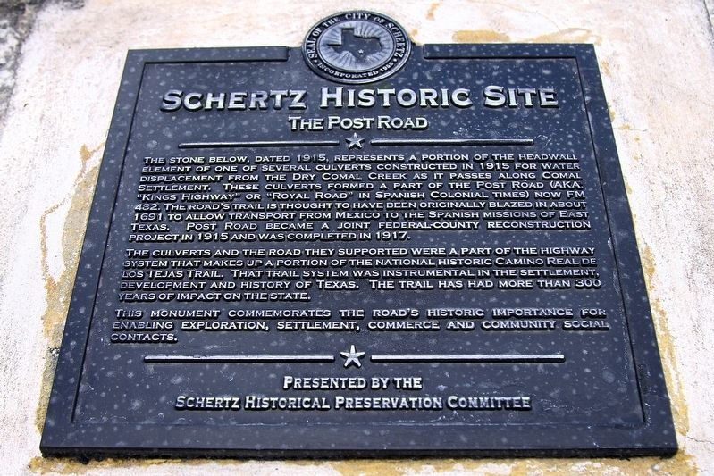 Schertz Historic Site Marker image. Click for full size.