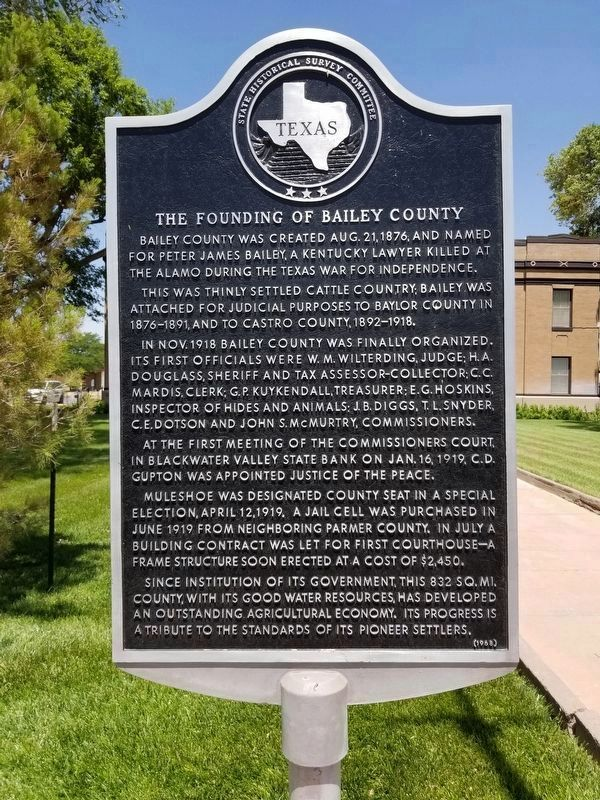The Founding of Bailey County Marker image. Click for full size.