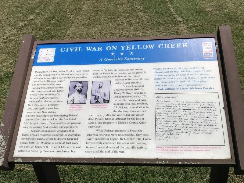 Civil War on Yellow Creek Marker image. Click for full size.