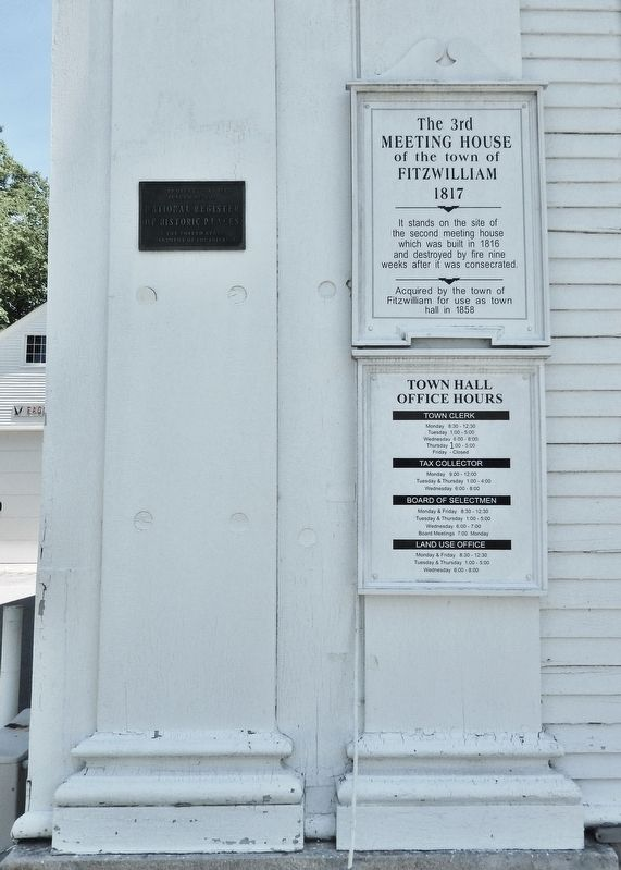 The 3rd Meeting House of the Town of Fitzwilliam Marker image. Click for full size.