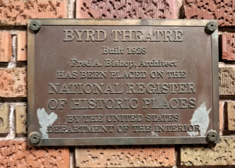 Byrd Theatre Marker image. Click for full size.