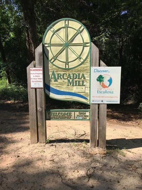 Arcadia Mill Archaeological Site Sign image. Click for full size.