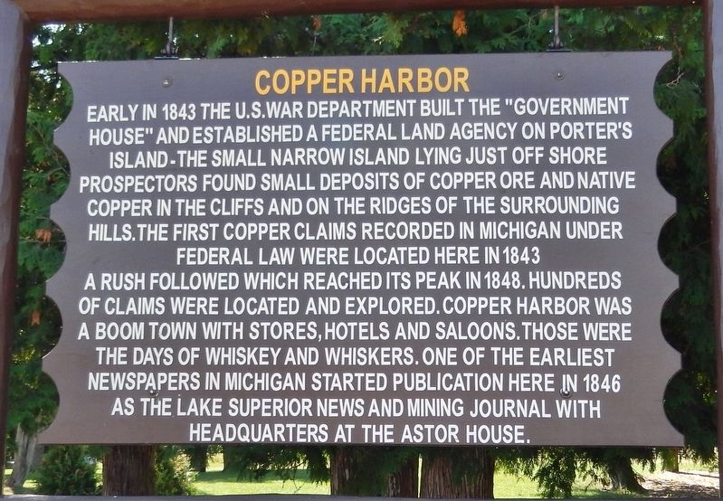 Copper Harbor Marker image. Click for full size.