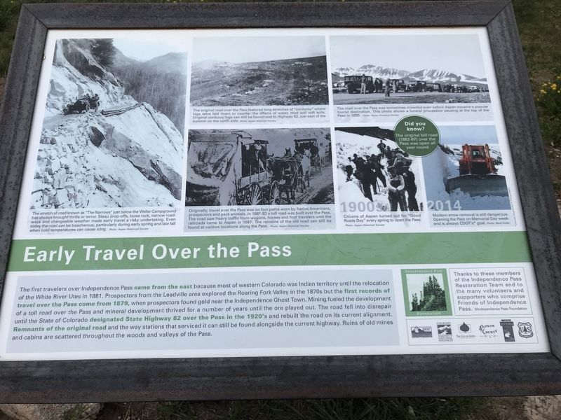 Early Travel Over the Pass Marker image. Click for full size.