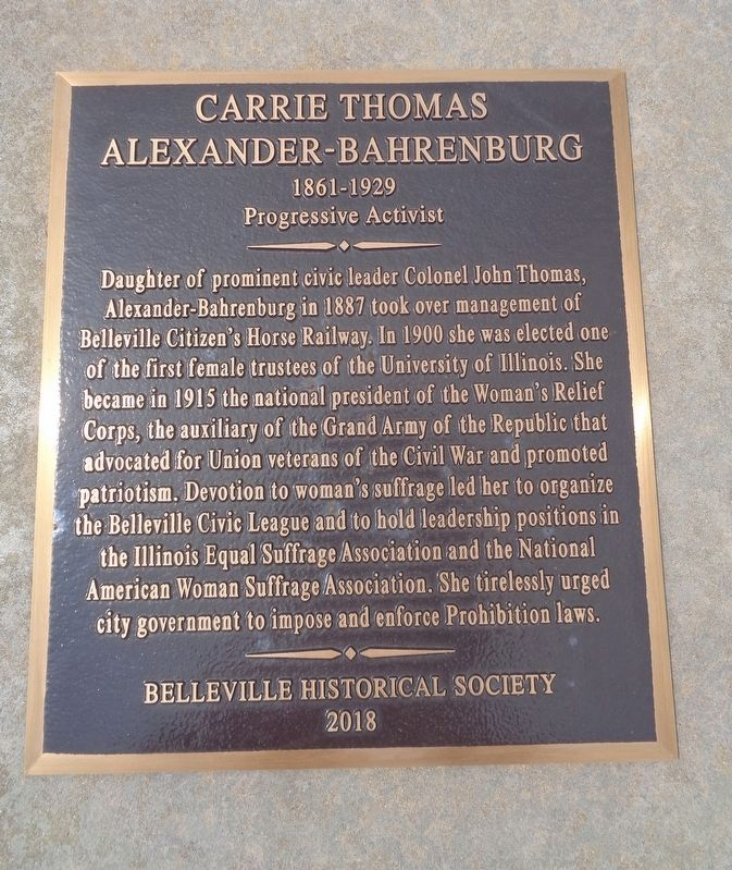Carrie Thomas Alexander-Bahrenburg Marker image. Click for full size.