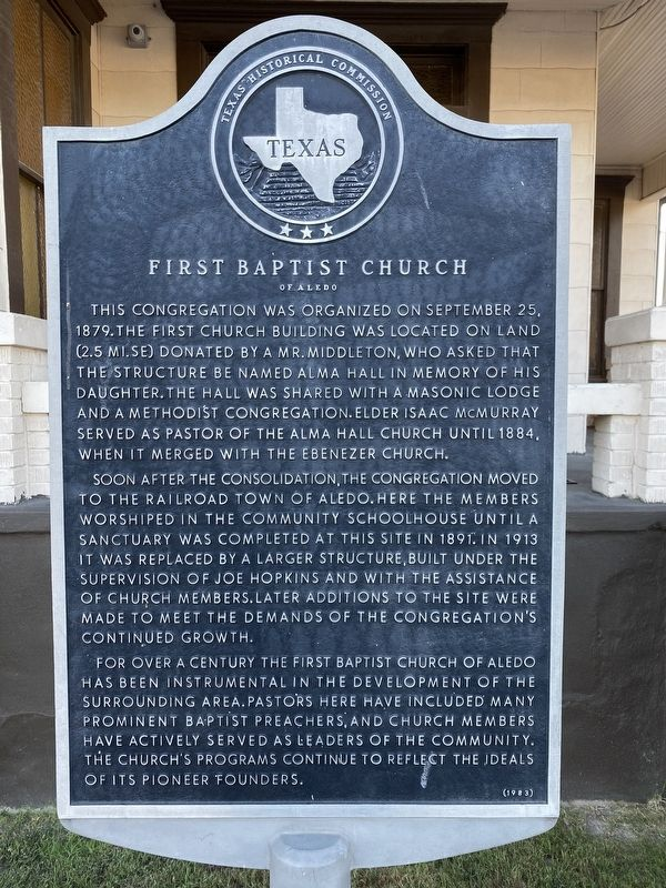 First Baptist Church of Aledo Marker image. Click for full size.