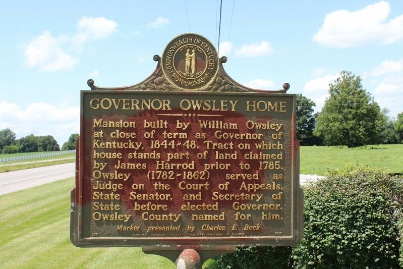 Governor Owsley Home Marker image. Click for full size.