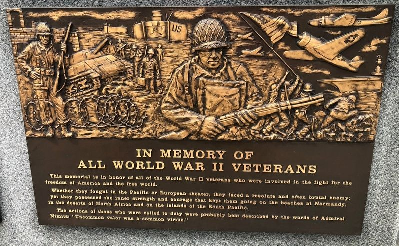 In Memory of All World War II Veterans Marker image. Click for full size.