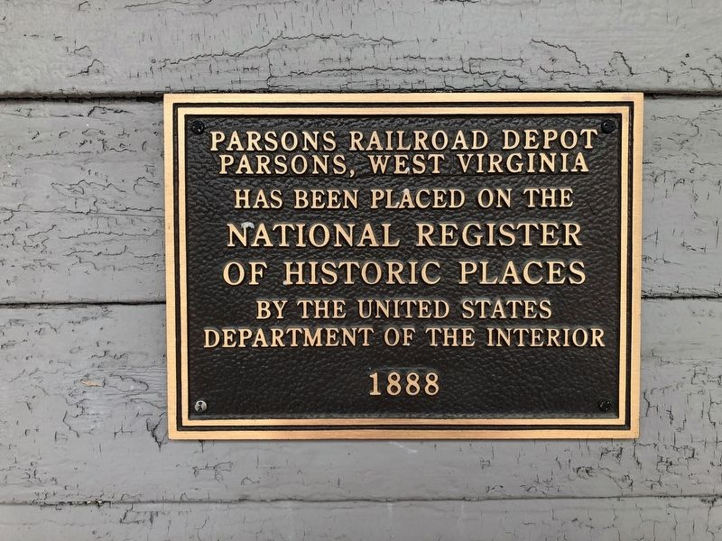 Historic Western Maryland Railway Depot / Parsons Railroad Depot Marker image. Click for full size.
