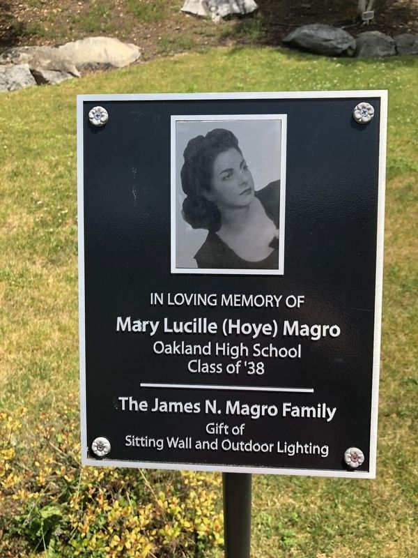 Nearby dedication plaque for Mary Lucille (Hoye) Magro image. Click for full size.