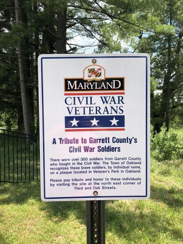 A Tribute to Garrett County's Civil War Soldiers Marker image. Click for full size.