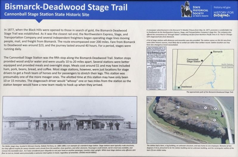 Bismarck-Deadwood Stage Trail Marker image. Click for full size.
