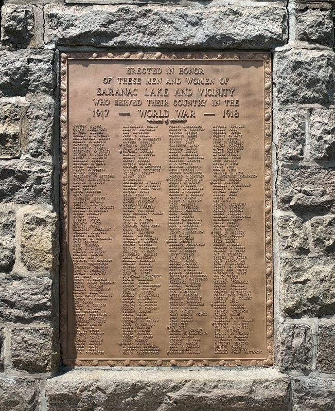 Town of Saranac Lake WW I Memorial image. Click for full size.