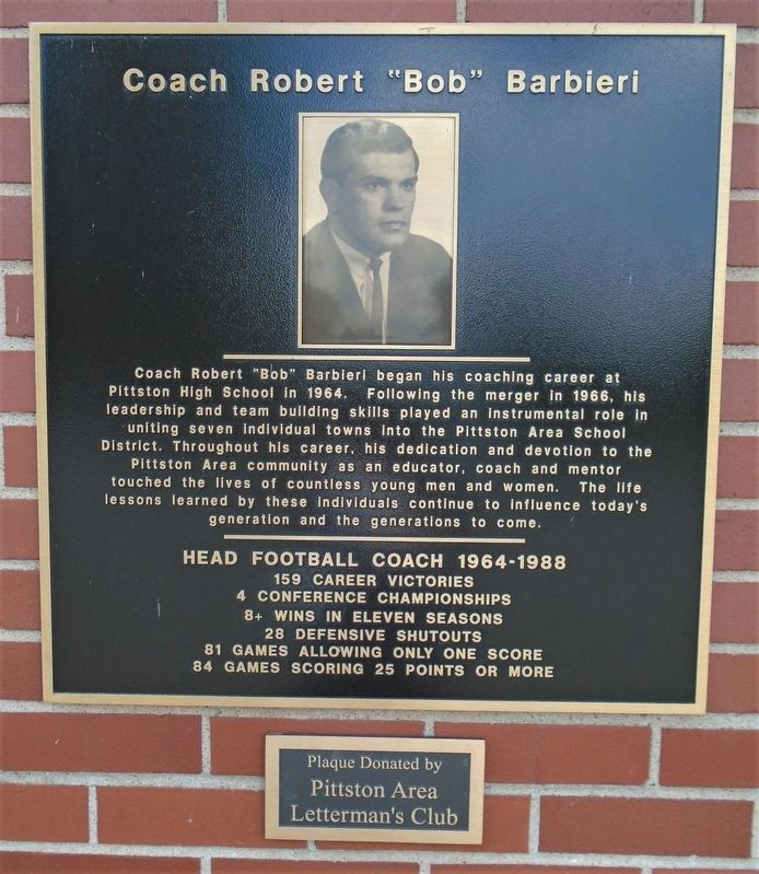"Coach Robert ""Bob"" Barbieri Marker image. Click for full size."