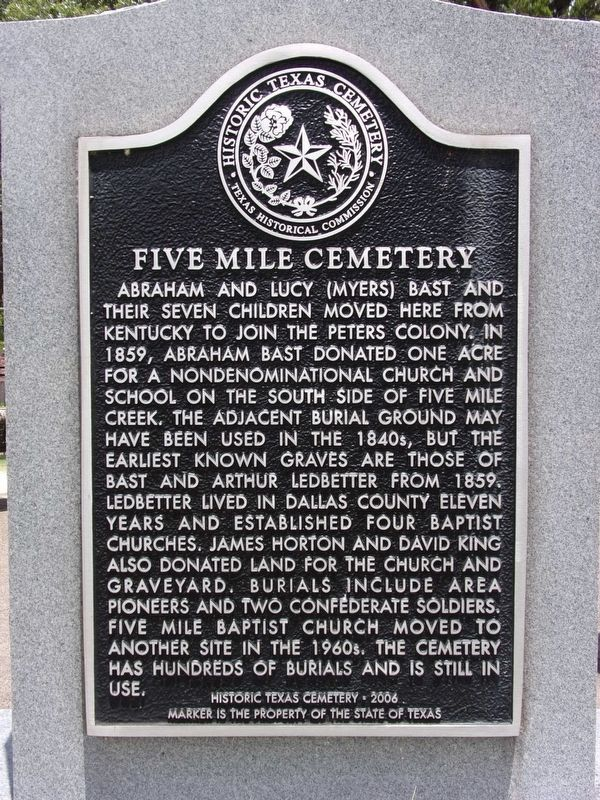 Five Mile Cemetery Marker image. Click for full size.