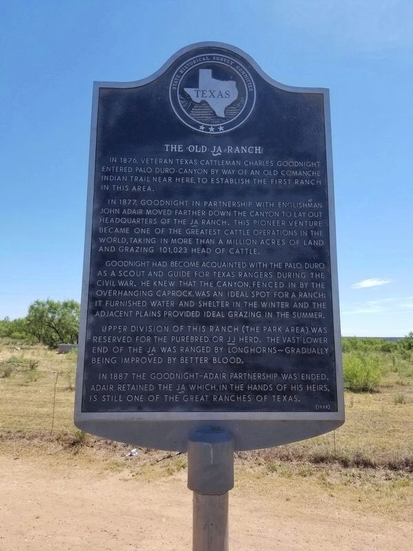 The Old JA Ranch Marker image. Click for full size.