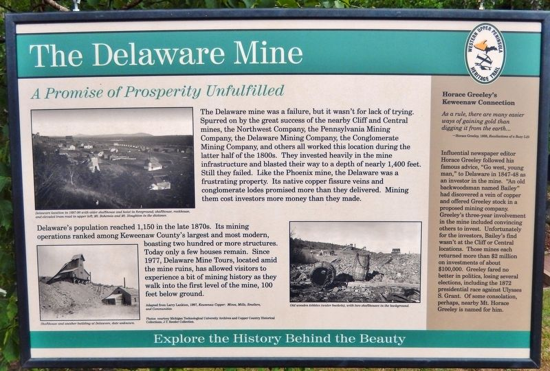 The Delaware Mine Marker image. Click for full size.