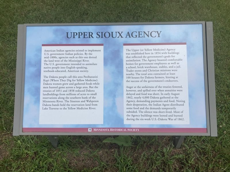 Upper Sioux Agency Marker image. Click for full size.