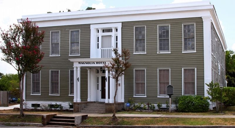 The Magnolia Hotel and Marker image. Click for full size.