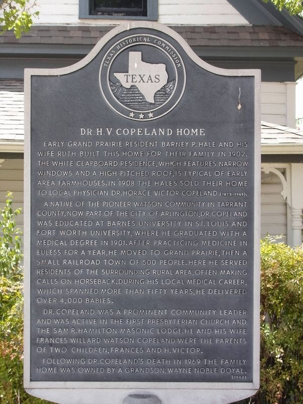 Dr. H.V. Copeland Home Marker image. Click for full size.