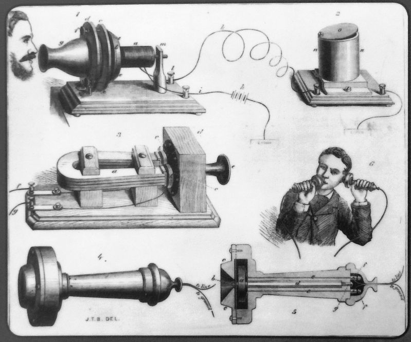 Marker detail: Early Telephone Technology image. Click for full size.