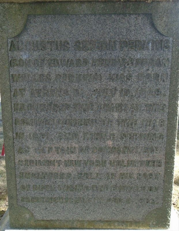 Captain Augustus S. Perkins Marker (back) image. Click for full size.