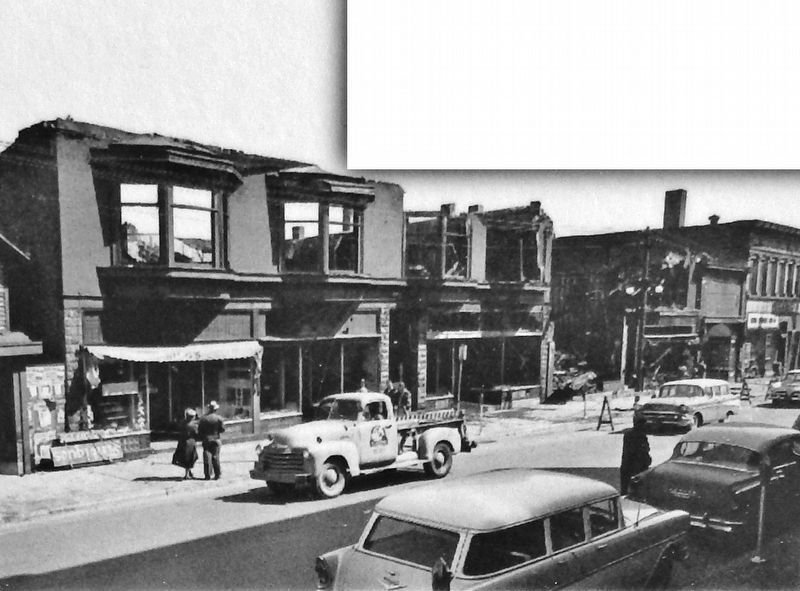 Marker detail: West Shelden Avenue after fire of 1953 image. Click for full size.