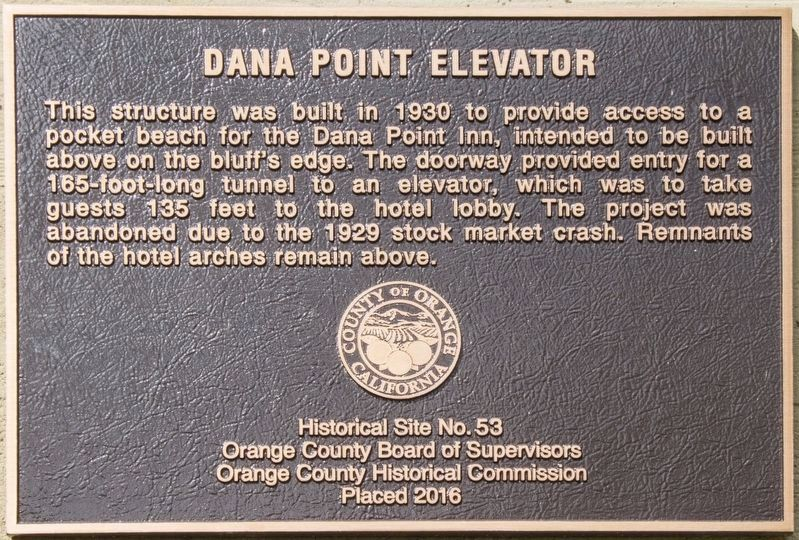 Dana Point Elevator Marker image. Click for full size.