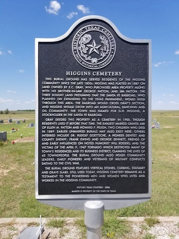 Higgins Cemetery Marker image. Click for full size.