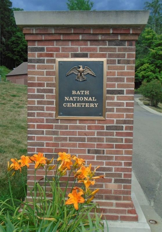 Bath National Cemetery Entrance Sign image. Click for full size.