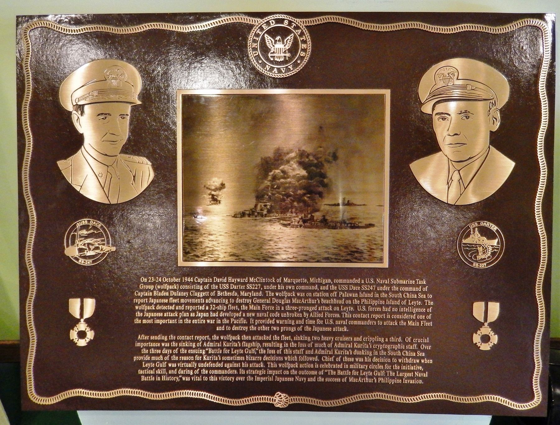 Battle for Leyte Gulf Memorial Plaque image. Click for full size.