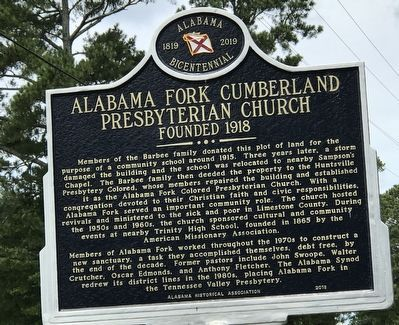 Alabama Fork Cumberland Presbyterian Church Marker image. Click for full size.
