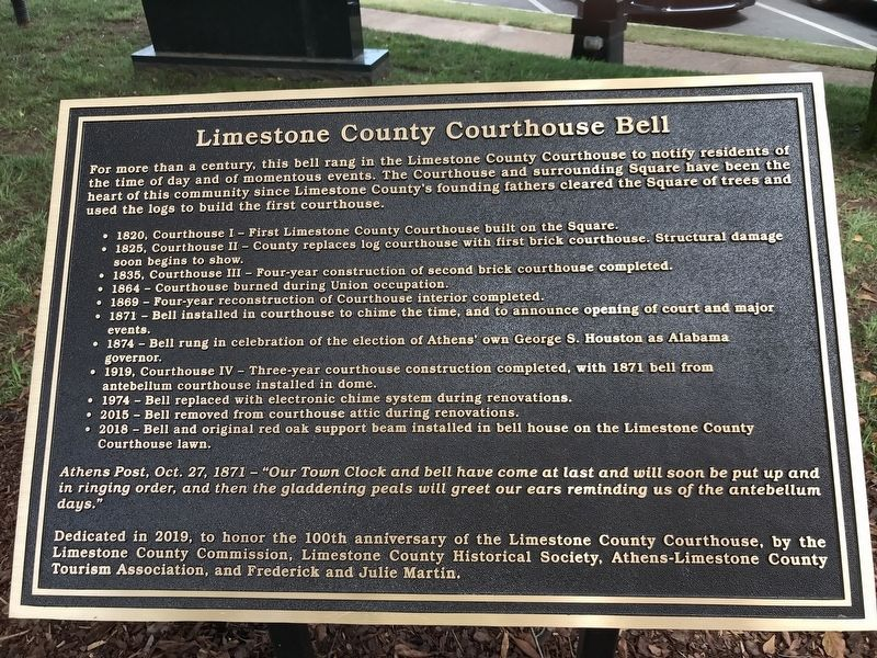 Limestone County Courthouse Bell Marker image. Click for full size.