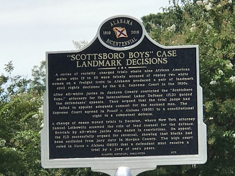 """Scottosboro Boys"" Case Landmark Decisions Marker image. Click for full size."