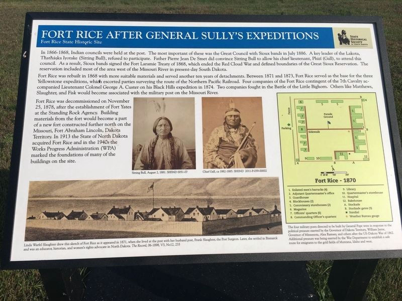 Fort Rice After General Sully's Expeditions Marker image. Click for full size.