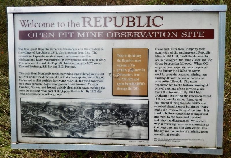 The Republic Open Pit Mine Observation Site Marker image. Click for full size.